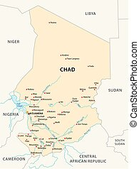 chad map - republic of Chad vector map, africa