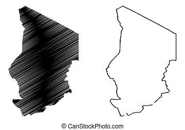 Chad  map vector illustration, scribble sketch Chad