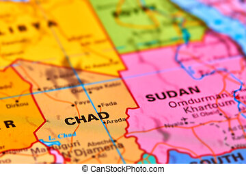 Chad on world map Old political map of world with flag of