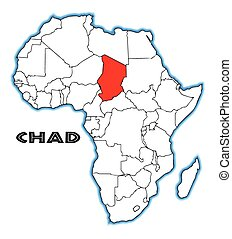 Chad outline inset into a map of Africa over a white background