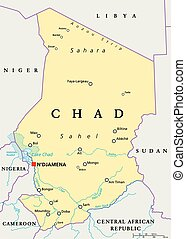 Chad Political Map with capital N'Djamena, national borders, important cities, rivers and lakes. English labeling and scaling. Illustration.