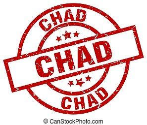 Chad red round grunge stamp