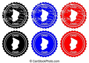 Chad - rubber stamp - vector, Republic of Chad map pattern -...