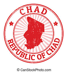 Grunge rubber stamp with the name and map of Chad, vector illustration