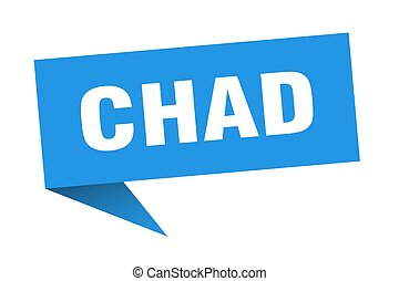 Chad sticker. Blue Chad signpost pointer sign