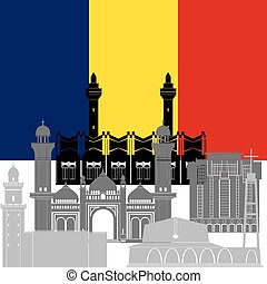 Chad - The national flag of the country and the contour...