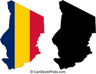 vector map and flag of Chad with white background.