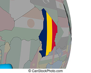 Chad with flag on 3D globe