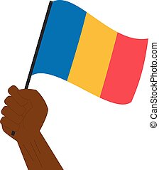 chade, nacional, mão, bandeira, segurando, levantamento
