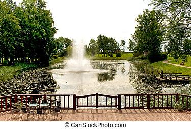 chafariz, ligado, rio, em, outono, parque