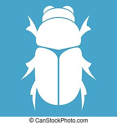 Chafer beetle icon white isolated on blue background vector...