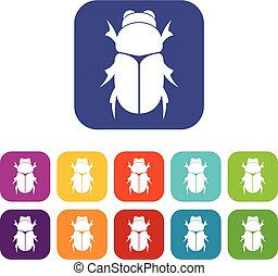 Chafer beetle icons set vector illustration in flat style in...