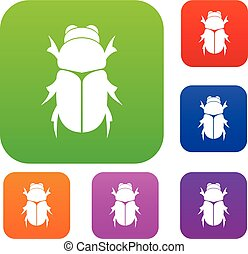 Chafer beetle set collection - Chafer beetle set icon in...
