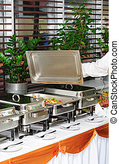 chafing dish heater with fish kebab - chafing dish heater...