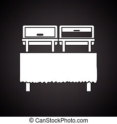 Chafing dish icon. Black background with white. Vector...