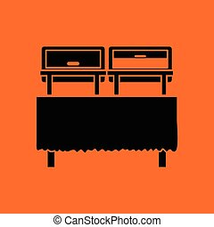 Chafing dish icon. Orange background with black. Vector...