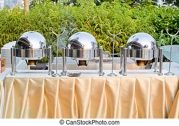 chafing dishes at a party