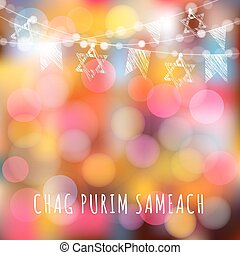 Chag Purim greeting card with garland of lights and jewish ...