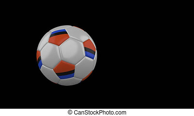 Chagos flag on flying and rotating soccer ball on transparent alpha channel