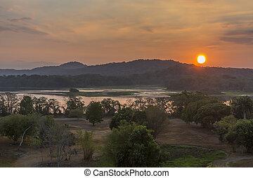 chagres, rivière, à, levers de soleil, -, panama