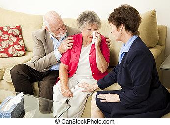 chagrin, conseiller, couples aînés