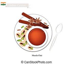 chai, chá, tradicional, quentes, indianas, pretas, masala