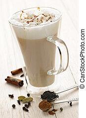 Chai Latte drink - Chai latte spiced tea beverage in glass...