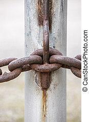 chain., さびた, 金属, ぐっと近づいて