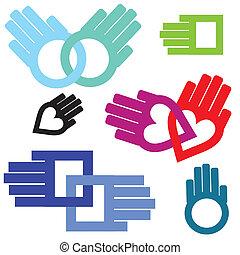 chain., セット, 心, 形づくられた, サポート, love., 手, 接続, 広場, 円