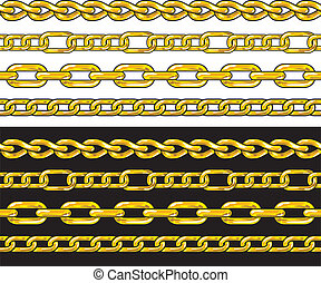 chain., ボーダー, seamless, 金, set.