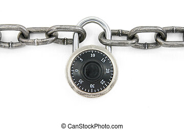 chain and combination lock with white background