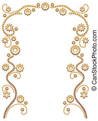 Chain and gear border - Floral border with chain vines and...