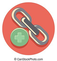 chain and plus flat icon in circle