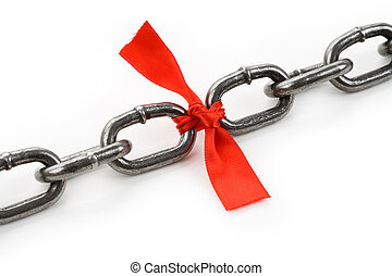 Chain and red bow, business concept