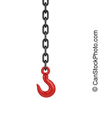 Chain and red hook isolated on white background