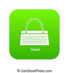 Chain bag icon green
