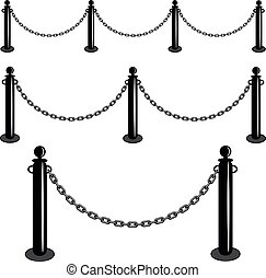 Chain barrier stand. Iron fence barricade. Isolated set vector illustration.