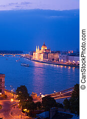 Chain Bridge and parliament panorama in Budapest