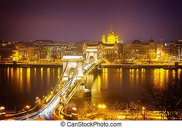 Chain Bridge Szechenyi lanchid and skyline of Pest at night from above, Budapest, Hungary, retro toned