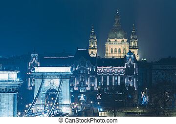 Chain Bridge and View on the  St. Stephen's Basilica Bulding at night before Christmas , Budapest, Hungary,