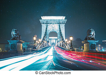 Chain Bridge and the Hungarian Parliament Building, Budapest, The Szechenyi Chain Bridge, Hungary