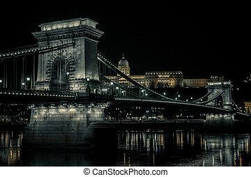 Chain Bridge at Night - Budapest, Hungary