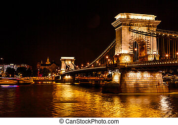 Chain Bridge Danube River Saint Stephens Cathedral Budapest...