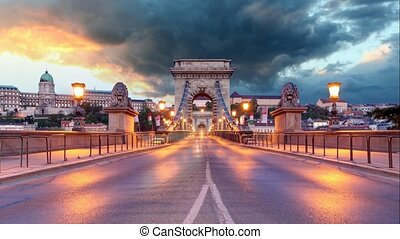 Chain Bridge in Budapest in evening