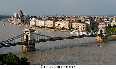The szechenyi chain bridge on the danube, built at the end of the 19th century and one of the symbols of Budapest