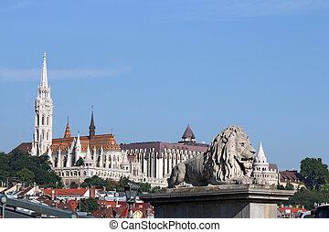 chain bridge lion statue and Fisherman bastion Budapest