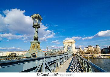 Chain Bridge on Danube river in Budapest city, Hungary