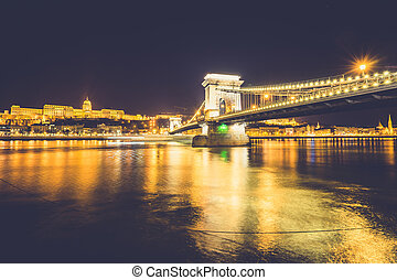 Chain bridge on Danube river in Budapest, Hungary