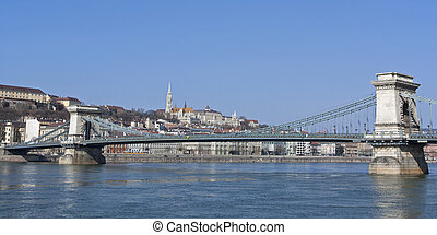 Chain Bridge over the River Danube in Budapest Hungary