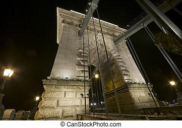 Chain Bridge pillar by night